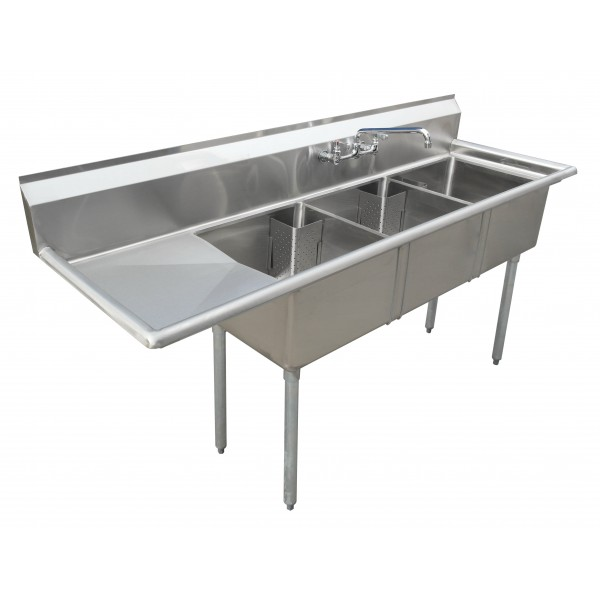Sink(Three Compartment_ Left Drainboard 01)