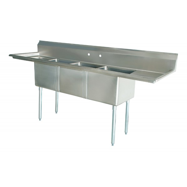 Sink(Three Compartment_ Two Drainboards 01)